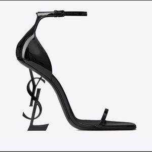 YSL OPYUM SANDALS PATENT LEATHER WITH BLACK HEEL